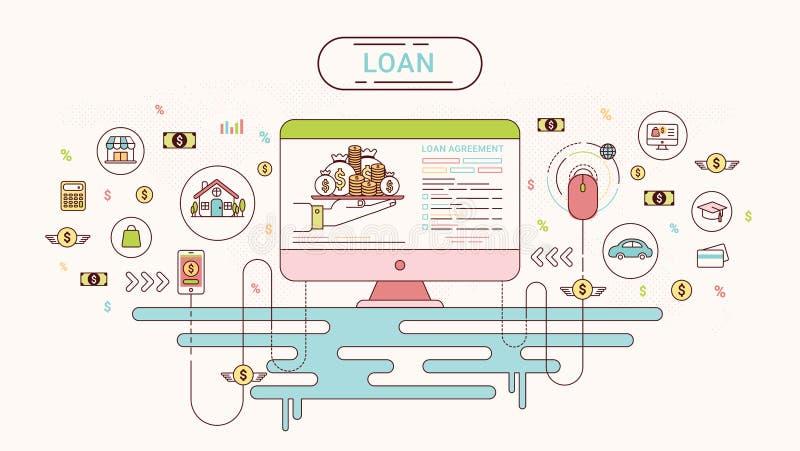 贷款Infographics设计观念 在债权人和债家之间的贷款协议 也corel凹道例证向量 向量例证