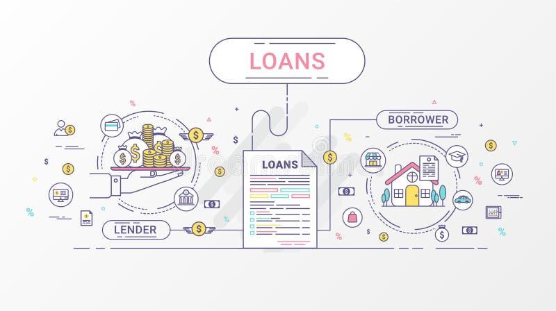 贷款Infographics 在贷款人和借户之间的贷款协议 平的线象设计包含债权人和债家 库存例证