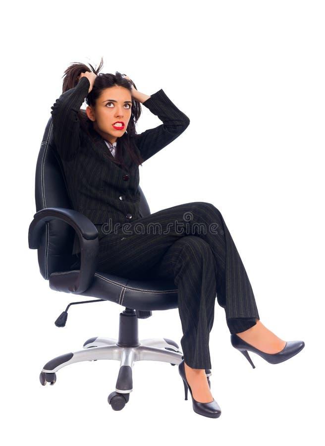 歇斯底里症的发作案失望问题在工作 库存照片