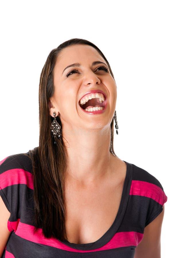 歇斯底里笑的妇女 免版税库存图片