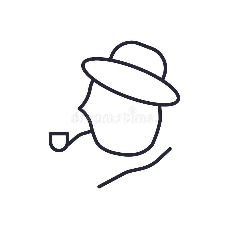 歇洛克holmes象在白色背景和标志隔绝的传染媒介标志,歇洛克holmes商标概念 库存例证