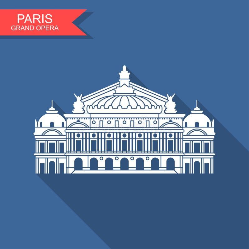 歌剧卡尼尔巴黎法国 与阴影的平的传染媒介象 向量例证