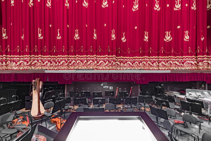 歌剧和芭蕾全国越野障碍赛马剧院在米斯克 内部 免版税库存照片