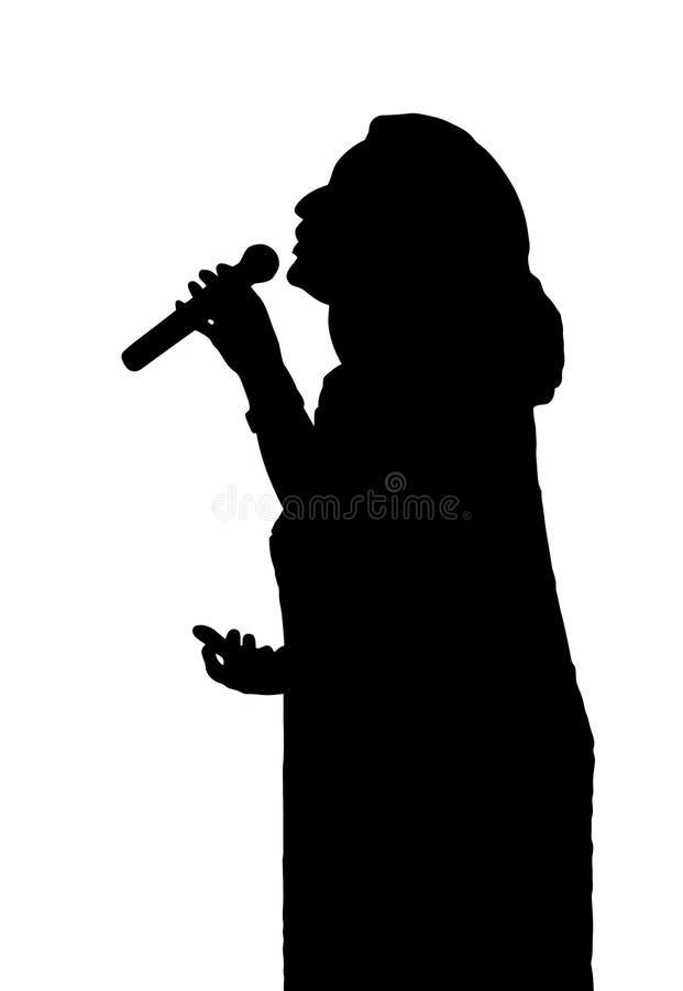 歌剧歌手剪影 向量例证
