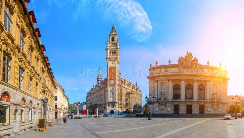 歌剧院和商会在里尔法国 皇族释放例证