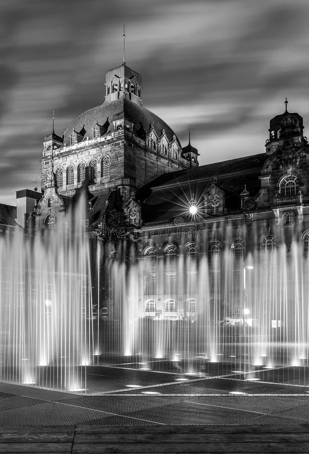 歌剧院纽伦堡在夜之前,德国 免版税库存图片