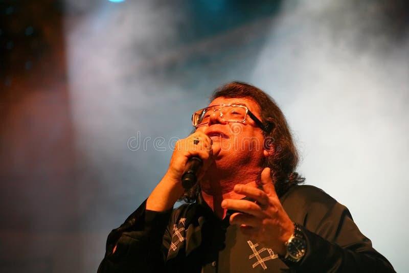 歌手和作曲家伊戈尔Kornelyuk -在文化和科学宫殿阶段的表现名为的,在I后 我 加沙 免版税库存照片