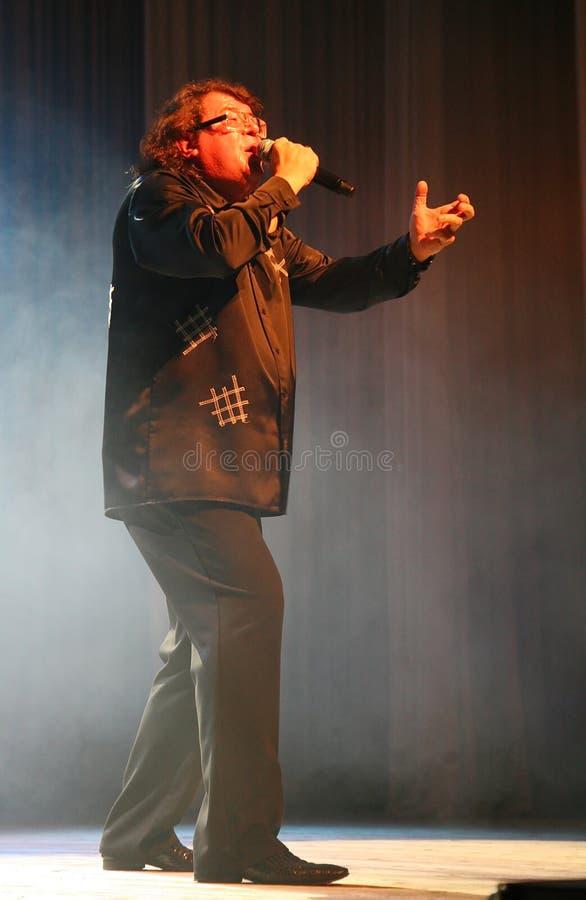 歌手和作曲家伊戈尔Kornelyuk -在文化和科学宫殿阶段的表现名为的,在I后 我 加沙 免版税图库摄影