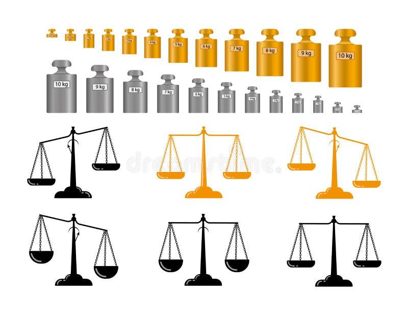 正义、标度和重量集合,传染媒介esp10定标重量标度, 库存例证
