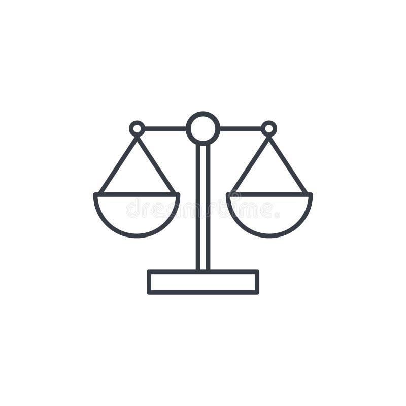 正义和法律标志,标度变薄线象 线性传染媒介标志 皇族释放例证