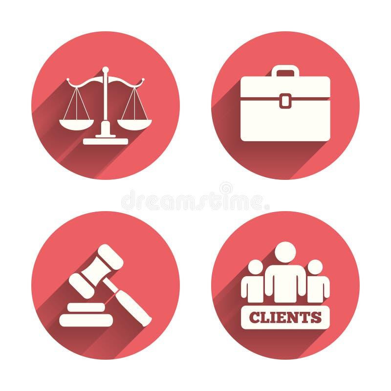 正义图标缩放比例 拍卖锤子和案件 库存例证