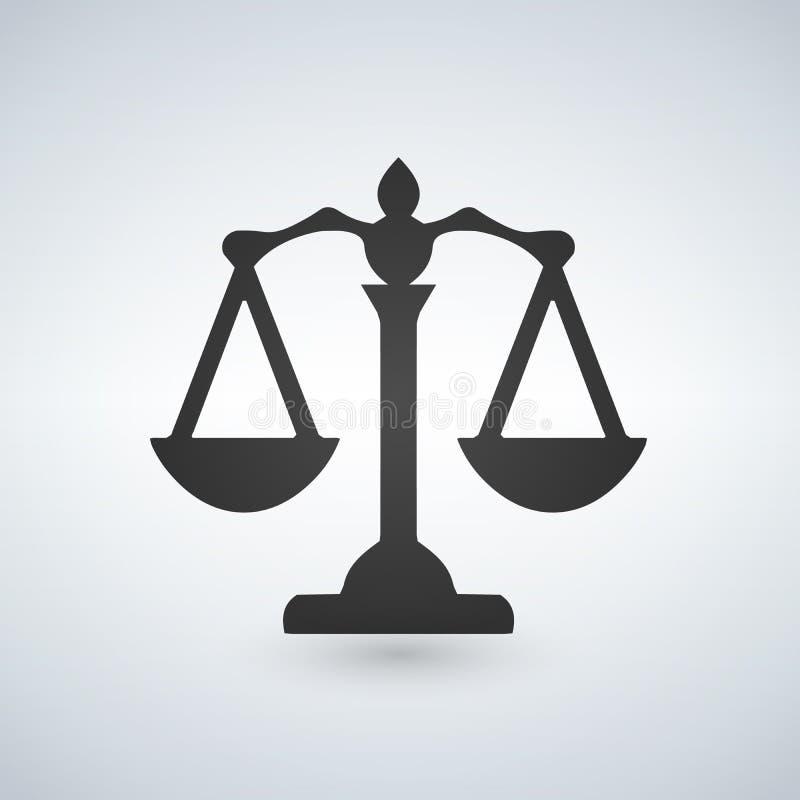 正义图标缩放比例 法庭标志 平签字盘旋 向量 库存例证
