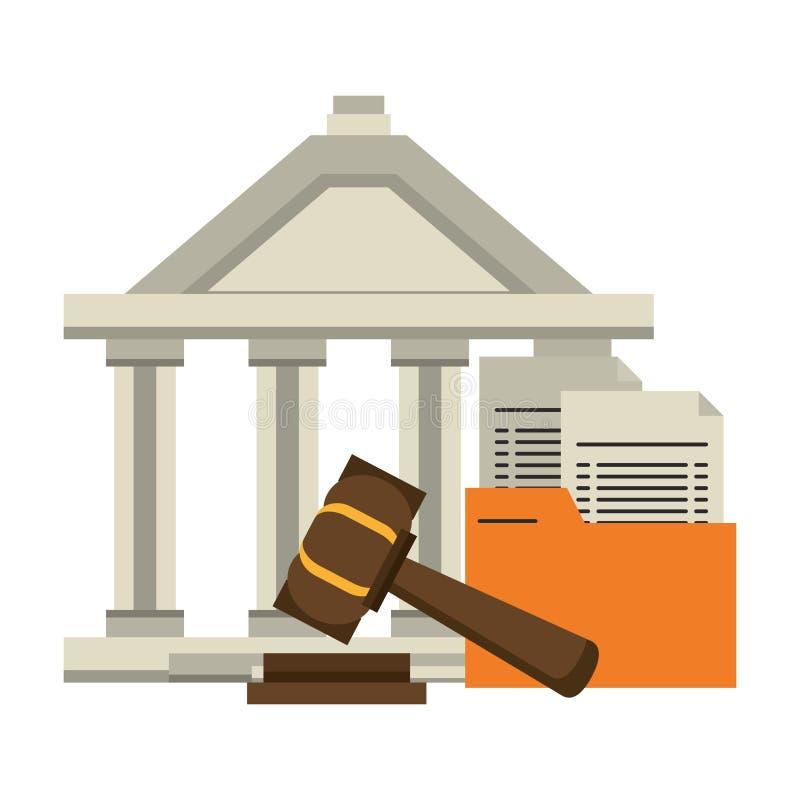 正义大厦和惊堂木有文件标志的 库存例证