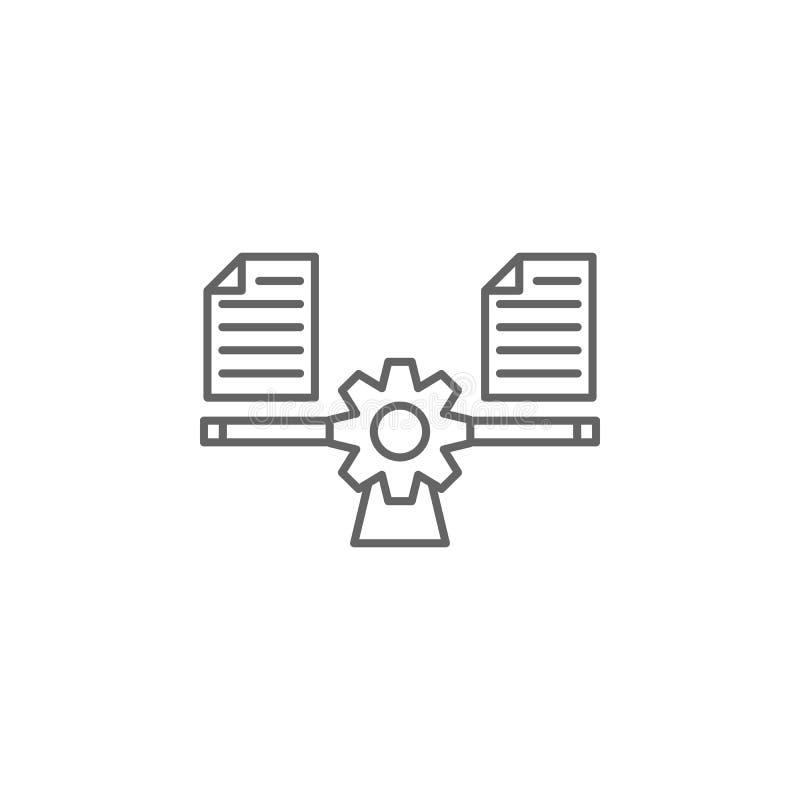 正义平衡的概述象 法律例证线象的元素 标志、标志和传染媒介可以为网,商标使用, 向量例证
