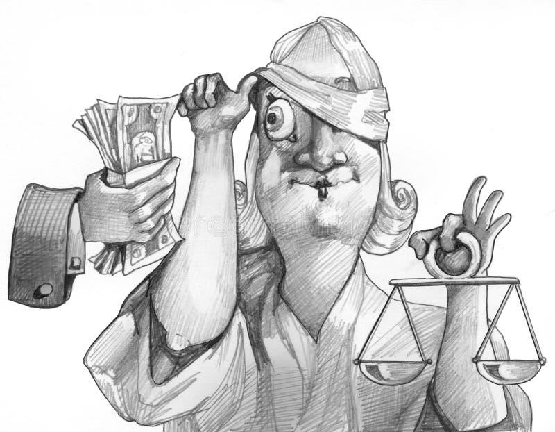 正义总是不是盲目的bw政治动画片 向量例证