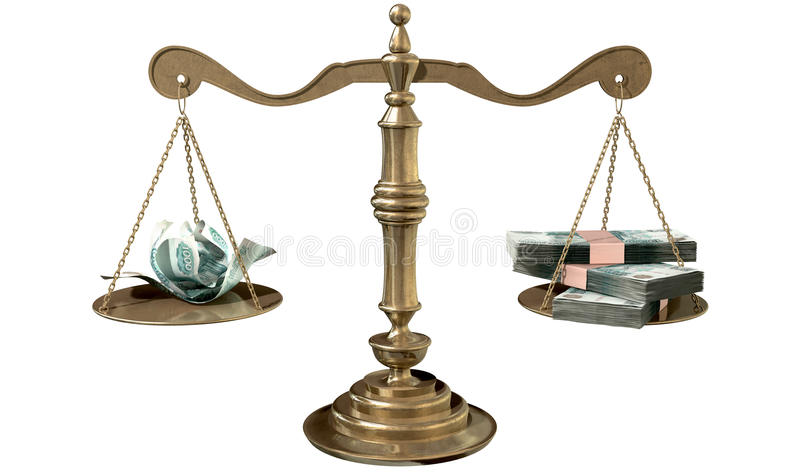 正义收入差距俄罗斯不平等标度  库存例证