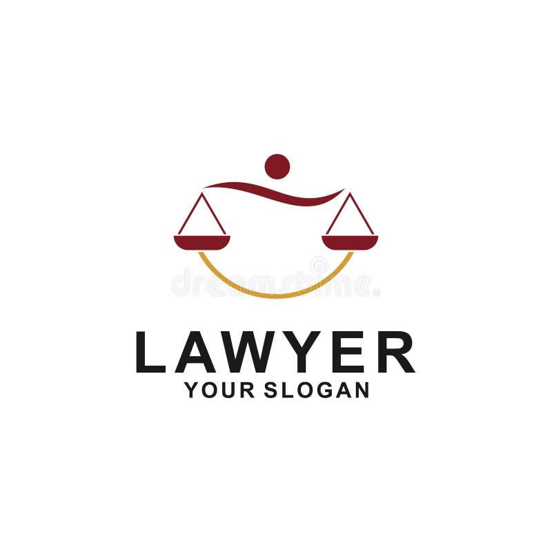正义法律商标设计模板 与柱子和星形状例证的律师商标 向量例证