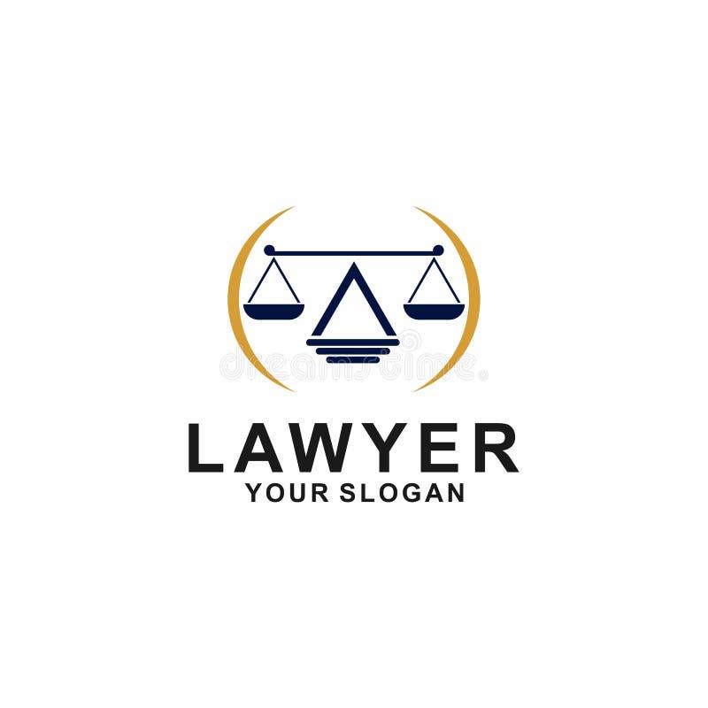 正义法律商标设计模板 与柱子和星形状例证的律师商标 皇族释放例证