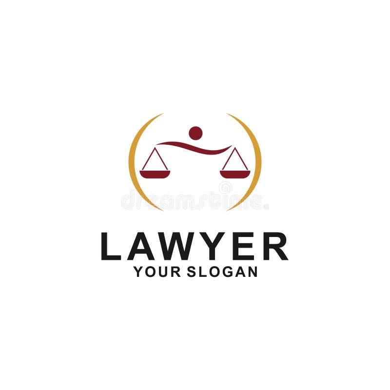 正义法律商标设计模板 与柱子和星形状例证的律师商标 库存例证