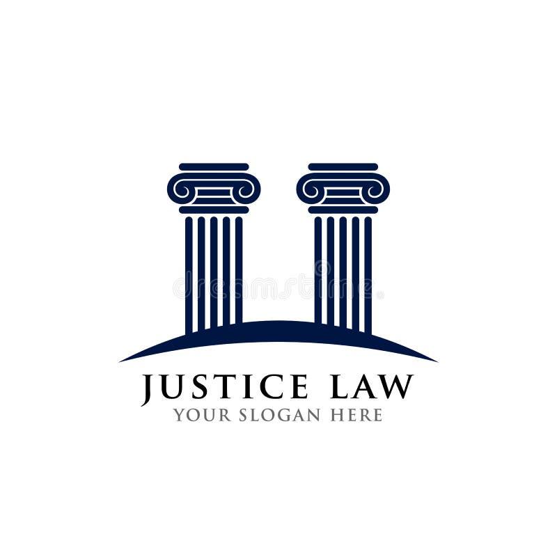 正义法律商标设计模板 柱子在深蓝颜色的商标设计 向量例证