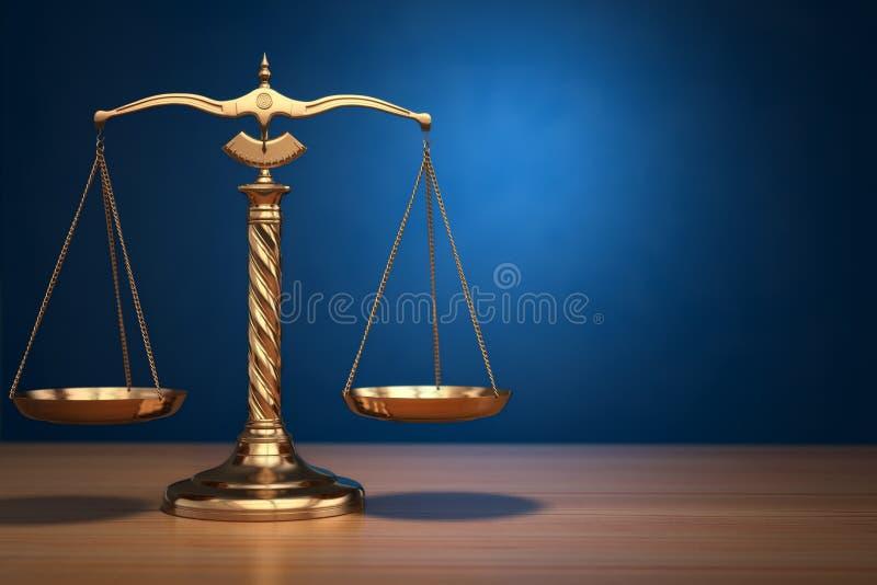 正义的概念 在蓝色背景的法律标度 库存例证