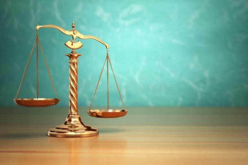 正义的概念 在绿色背景的法律标度 向量例证