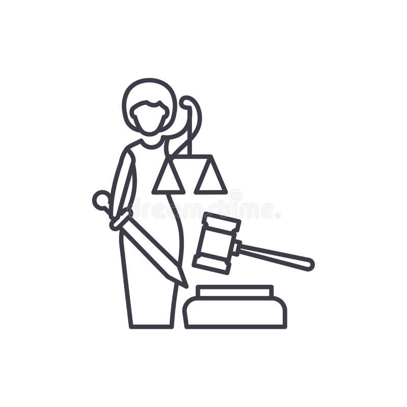 正义线象概念 正义传染媒介线性例证,标志,标志 库存例证