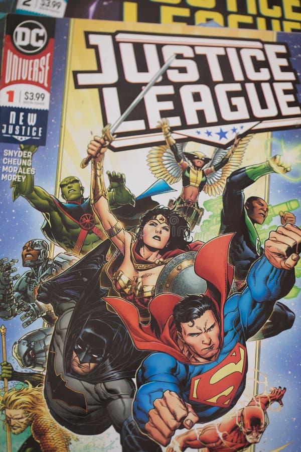 正义联盟超级英雄漫画书 免版税图库摄影