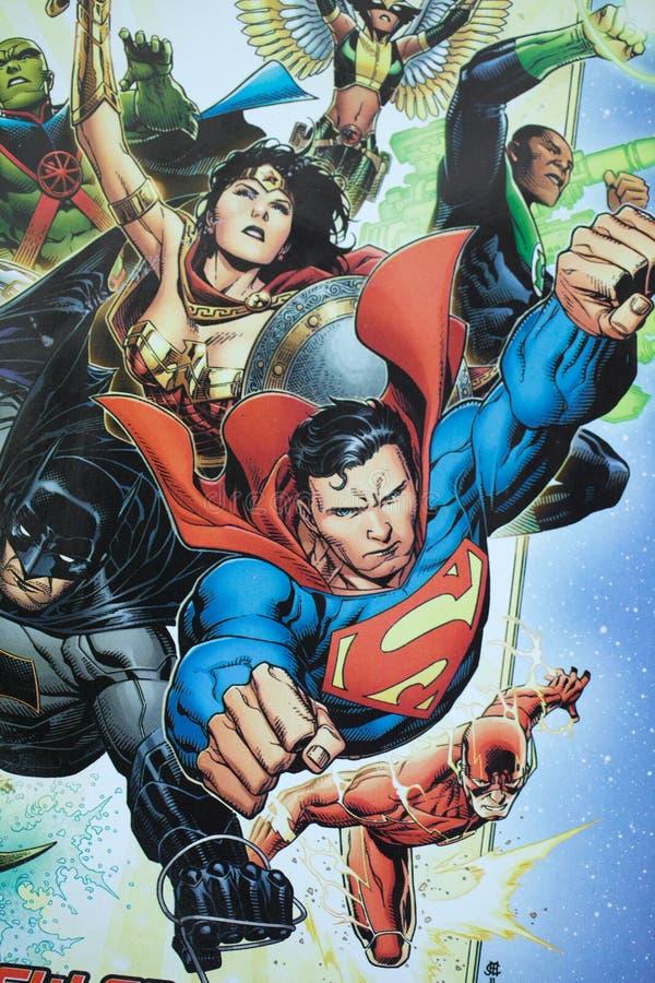 正义联盟超级英雄漫画书 库存照片