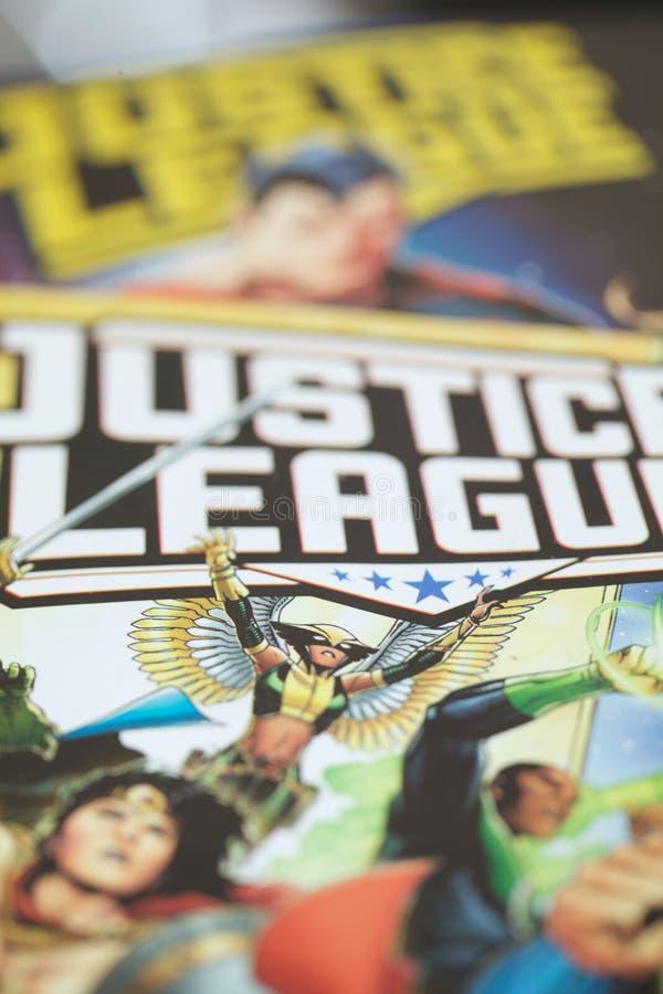正义联盟超级英雄漫画书 免版税库存图片