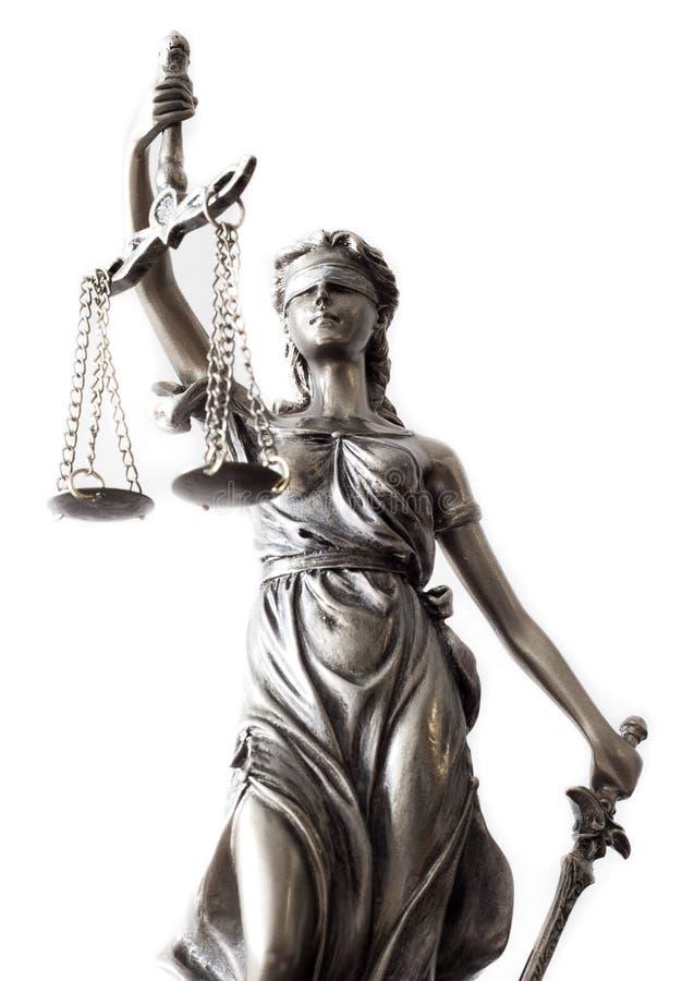 正义雕象在白色的 免版税库存照片