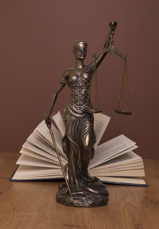 正义,在书后的法官的锤子雕象在braun背景 库存图片