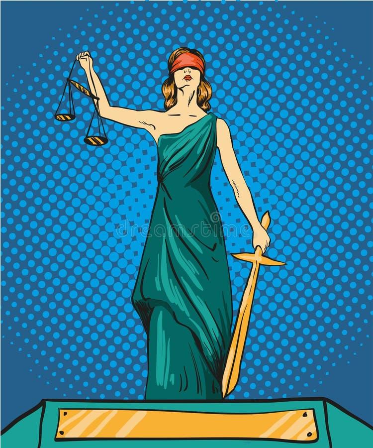 正义Themis的雕象神 与平衡和剑的Femida 导航在流行艺术可笑的减速火箭的样式的例证 法律的法律 向量例证