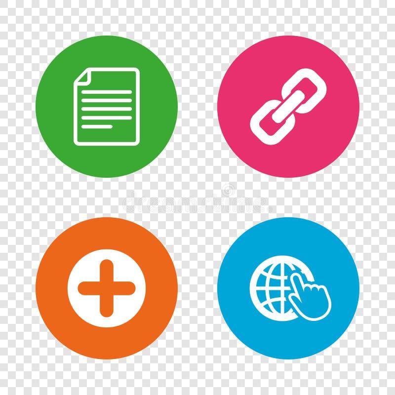 正圈子和超链接标志 文件,地球 向量例证