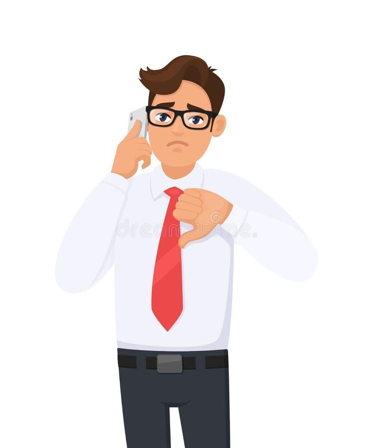 正式发表演讲或谈话的不快乐的年轻商人关于机动性,细胞,智能手机 打手势在标志下的男性收养拇指 皇族释放例证