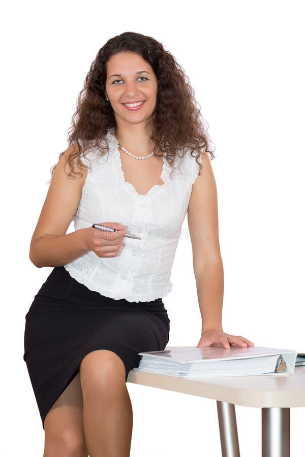 正式衣物的美丽的企业夫人在白色背景 图库摄影