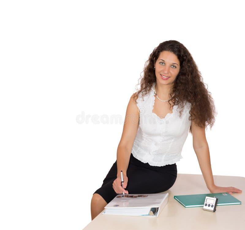 正式衣物的美丽的企业夫人在白色背景 库存照片
