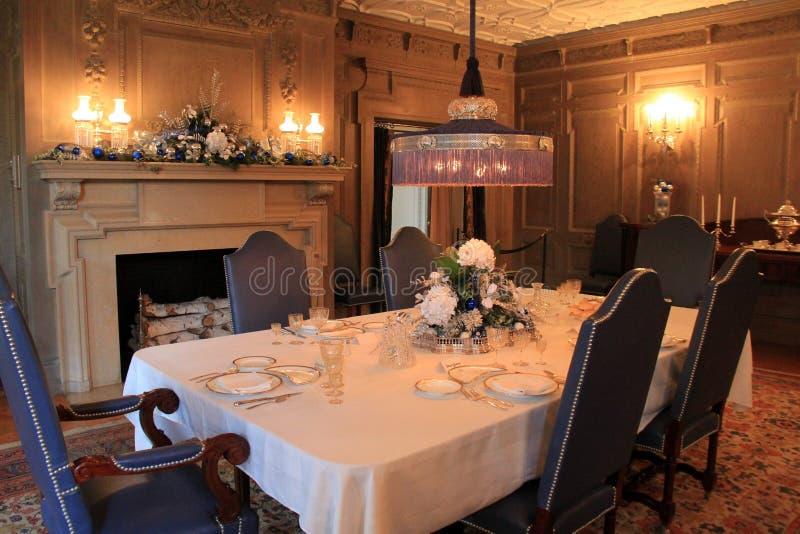 正式饭厅,乔治・伊士曼议院,罗切斯特,纽约的美好的描述, 2017年 库存图片