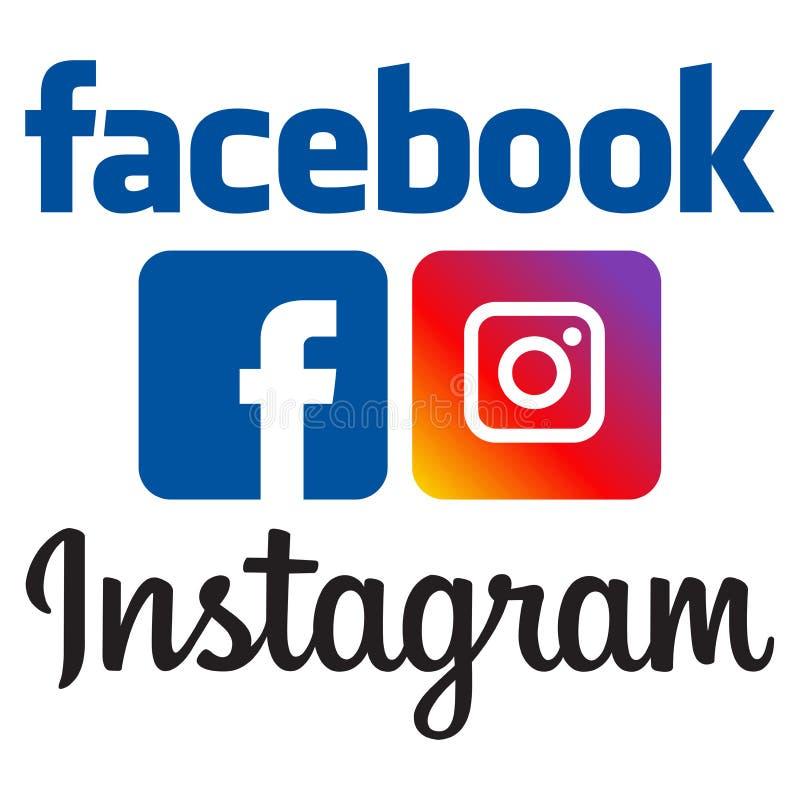 正式facebook和instagram商标 皇族释放例证