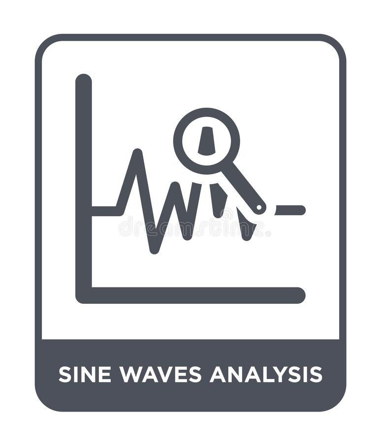 正弦波在时髦设计样式的分析象 正弦波在白色背景隔绝的分析象 正弦波分析传染媒介 库存例证