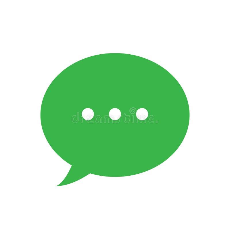 正文消息传染媒介象,绿色讲话泡影标志 向量例证