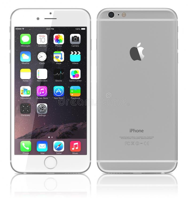 正新的银色iPhone 6 库存图片