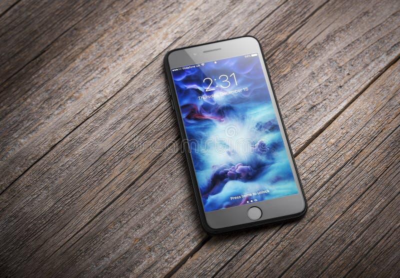 正新的黑iPhone 7 库存照片