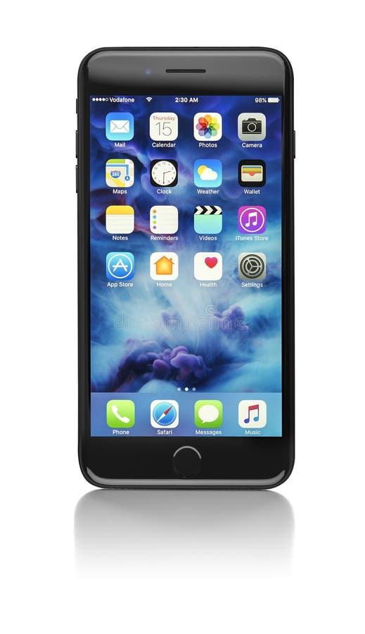 正新的黑iPhone 7 免版税图库摄影