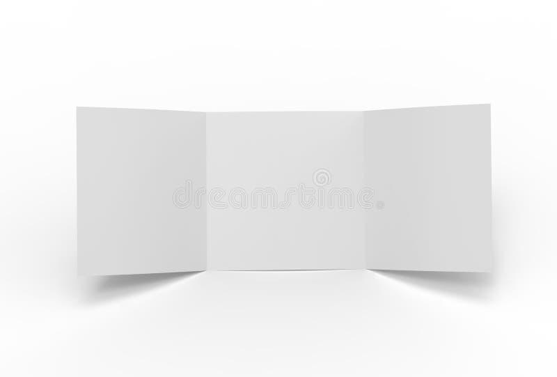 正方形三折叠在白色背景隔绝的小册子嘲笑 向量例证