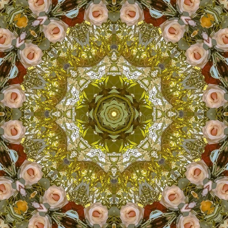 正方形减弱在圆安排的桃红色红色和绿色花的声音在婚礼在加利福尼亚 免版税库存照片
