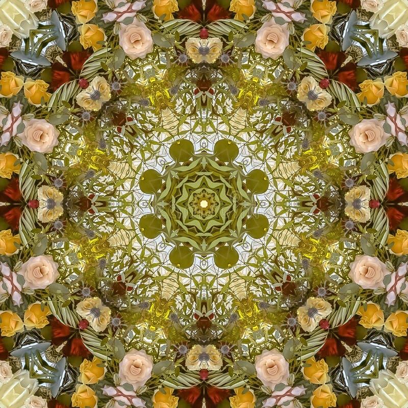 正方形减弱在的颜色的声音在圆安排的花在婚礼在加利福尼亚 库存图片