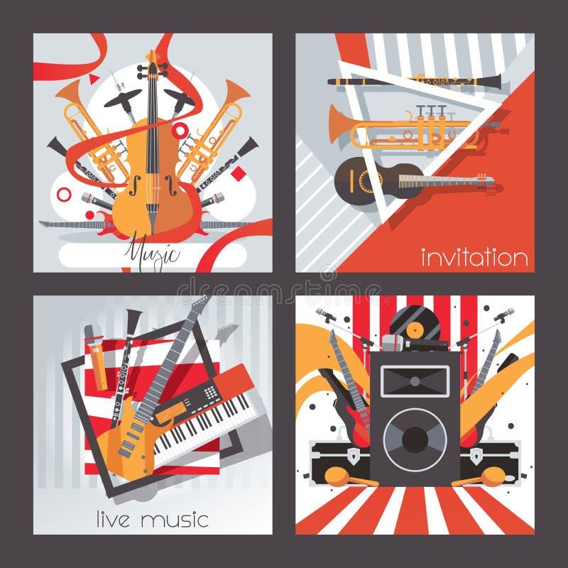 正方形卡片致力了实况音乐、仪器和声音 传染媒介收藏有益于邀请设计,音乐会,使用 向量例证