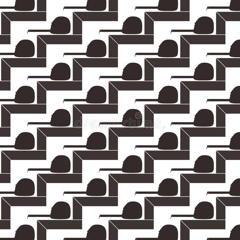 正方形和卷尺无缝的样式背景  库存例证