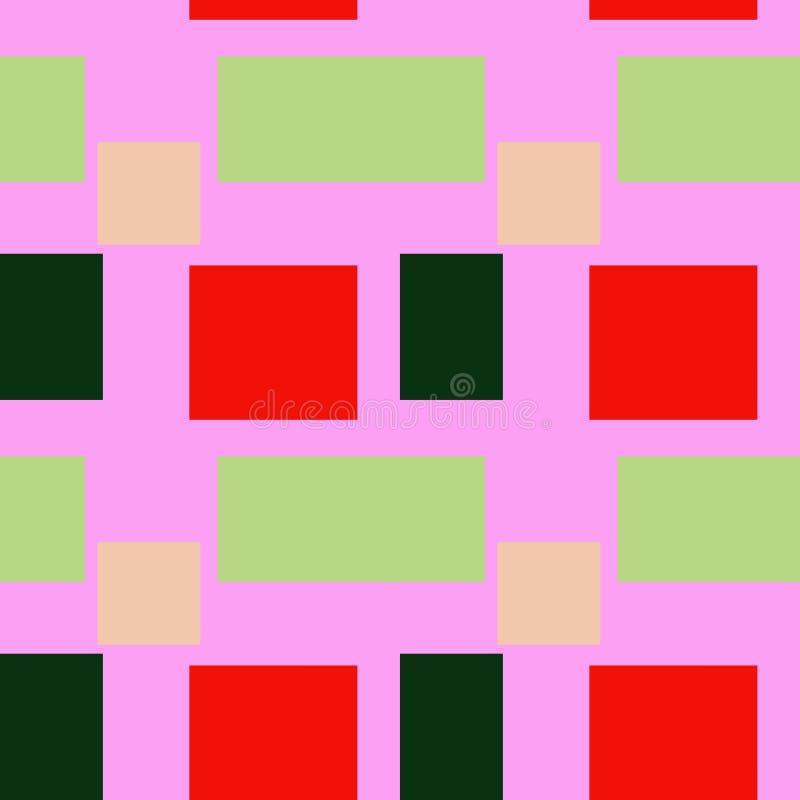 正方形和四边形的无缝的样式在2019年的现代颜色 库存例证